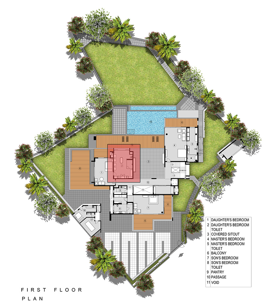 1st Floor layout plan of Infinity House by GA Design at Khandala